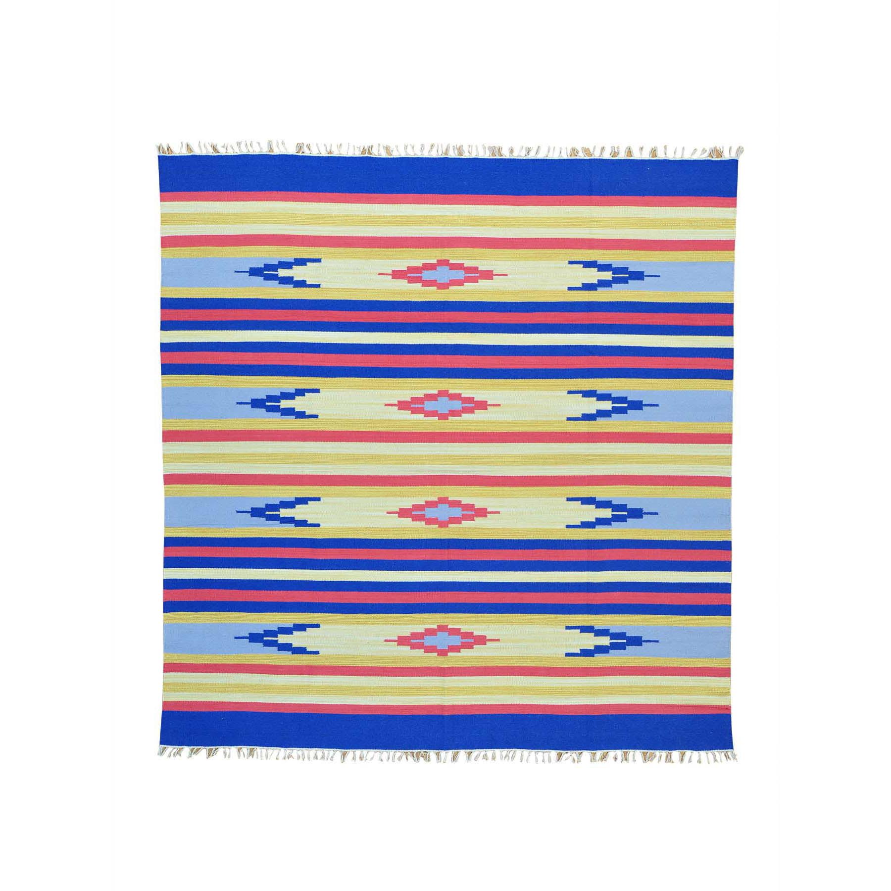 8x84 Flat Weave Hand Woven Navajo Design Square Killim